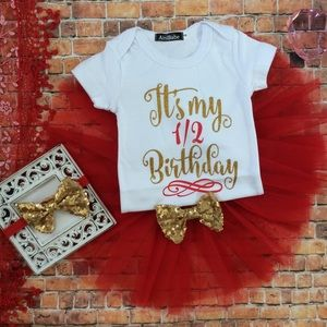 Other - Boutique Baby Girl 1/2 Birthday Tutu Outfit
